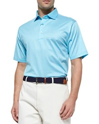 Peter Millar Monty Hairline Lisle Polo Shirt Teal Blue