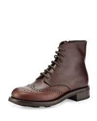 Prada Gradient Leather Wing Tip Lace Up Boot Brown