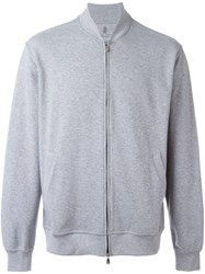 Brunello Cucinelli Zipped Bomber Jacket Grey