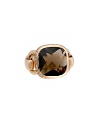 Poiray Indrani 18K Rose Gold Smoky Quartz And Diamond Ring Brown