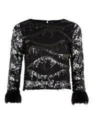 Louche Yuba Sequin Top Black
