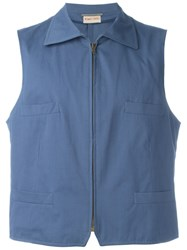 Romeo Gigli Vintage Zip Front Waistcoat Blue