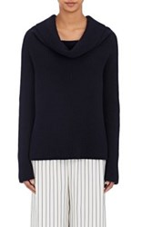 The Row Women's Agneta Rib Knit Off Shoulder Sweater Navy