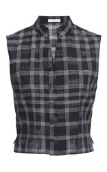 Tome Chinoise Band Collar Vest Plaid