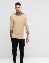 Asos Extreme Muscle Long Sleeve T Shirt With Boat Neck In Tan Tan Brown