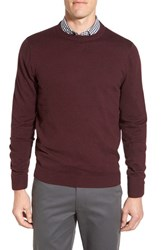 Nordstrom Men's Big And Tall Men's Shop Cotton And Cashmere Crewneck Sweater Burgundy Fudge Heather