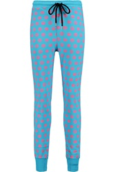 Markus Lupfer Smacker Printed Cotton Terry Straight Leg Pants Blue
