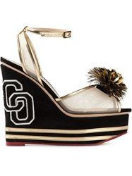 Charlotte Olympia 'Team Spirit' Wedge Sandals Black