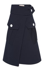 Marni Wool Cargo Skirt Navy