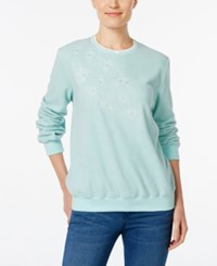 Alfred Dunner Embroidered Fleece Sweater Mint