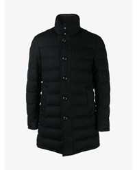 Moncler Long Wool Coat With Feather Down Lining Black White Grey