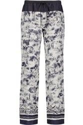 Tory Burch Printed Silk Wide Leg Pants White