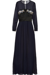 Matthew Williamson Embroidered Satin Paneled Silk Chiffon Gown