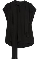 Balenciaga Draped Pussy Bow Silk Crepe De Chine Top Black