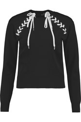Love Moschino Lace Up Stretch Knit Top Black