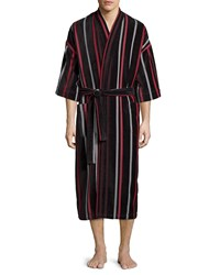 Neiman Marcus Velour Striped Kimono Robe 001 Black