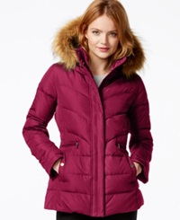 Larry Levine Faux Fur Hood Down Puffer Jacket Red