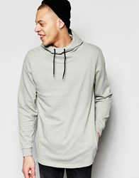 Asos Funnel Hoodie With Fixed Hem In Grey Grey