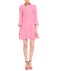 Valentino 3 4 Sleeve Leather Collared Dress Pink