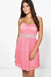 Boohoo Fran Lace Embellished Waist Dress Coral