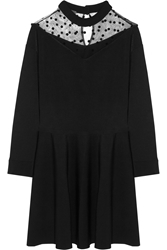 Ungaro Tulle Paneled Stretch Knit Mini Dress