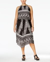 Ing Plus Size Printed Halter A Line Dress Black White