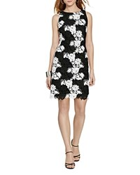 Lauren Ralph Lauren Crochet Lace Sheath Dress Black White