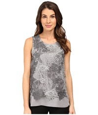Calvin Klein Sleeveless Heather Lace Twofer Top Grey Combo Women's Sleeveless Gray