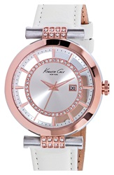 Kenneth Cole Crystal Accent Leather Strap Watch 36Mm White Rose Gold