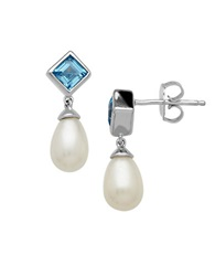 Lord And Taylor Sterling Silver Pearl And Swiss Blue Topaz Drop Earrings