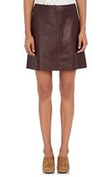 Theory Women's Irenah Leather A Line Skirt Red