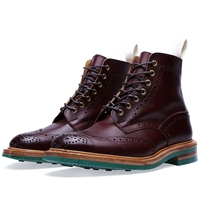 Trickers End. X Tricker's Colour Dainite Stow Brogue Boot Burgundy Burnished Green