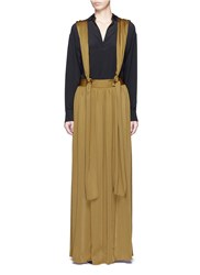 Lanvin Knotted Suspender Crepe Maxi Skirt Yellow