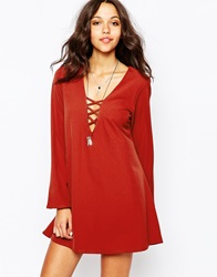 Swing Dress With Lace Up And Flare Sleeves Rust