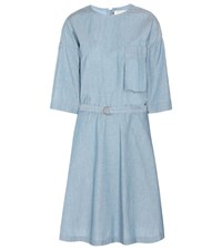 Maison Kitsune Jade Cotton Chambray Dress Blue