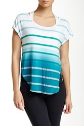 Pink Lotus Caution Scoop Neck Striped Top Green