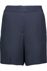 Theory Harsbie Washed Silk Shorts Storm Blue