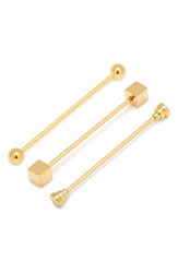 Cufflinks Inc. Stainless Steel Collar Bars Assorted 3 Pack Gold