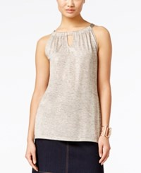 Inc International Concepts Petite Shine Halter Tank Top Only At Macy's Gold