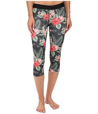 Hurley Dri Fit Crop Leggings Black Floral Women's Workout Multi