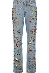 Dolce And Gabbana Embellished Low Rise Straight Leg Jeans Blue