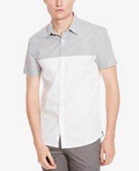 Kenneth Cole New York Men's Colorblocked Short Sleeve Shirt Dim Grey Combo