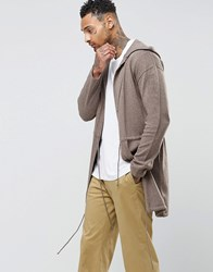 Asos Knitted Parka In Taupe Taupe Brown