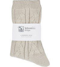 Johnstons Cable Knit Cashmere Socks Silk Rain