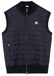 Moncler Navy Shell And Wool Blend Gilet