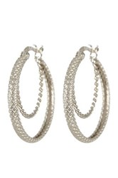 Argentovivo Sterling Silver Twisted Hoop Earrings Metallic