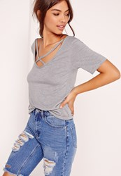 Missguided V Neck Cross Strap Front T Shirt Grey Grey