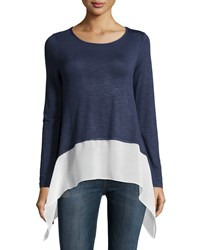 Neiman Marcus Long Sleeve Chiffon Trim Sharkbite Hem Tee Denim Heather