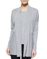 Lafayette 148 New York Shawl Collar Wool Cardigan Light Nickel