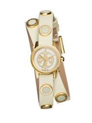 Tory Burch Reva Mini Goldtone Stainless Steel And Studded Leather Strap Watch Ivory Gold Ivory